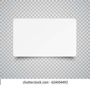 Blank horizontal plastic, paper business card or name card isolated on transparent background. Vector clean web button, sticker, sheet, label, banner with rounded corners for your advertising design