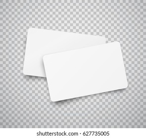 Blank horizontal plastic, paper business cards or name cards isolated on transparent background. Vector clean web stickers, sheets, labels, banners with rounded corners for your advertising design.