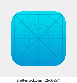 Blank icon or button of the app for web and mobile systems. Template application sign with guidelines.