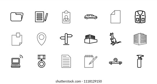 Blank icon. collection of 18 blank outline icons such as cangaroo, spray bottle, hanger, sleeveless shirt, document, folder, laptop. editable blank icons for web and mobile.