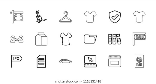Blank icon. collection of 18 blank outline icons such as cangaroo, shirt, paper, laptop, folder, shield, binder, direction, passport. editable blank icons for web and mobile.