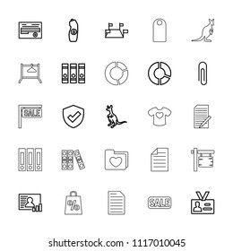 Blank icon. collection of 25 blank outline icons such as cangaroo, binder, paper clip, water bottle, pie chart, document, locations. editable blank icons for web and mobile.