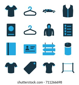 Blank icons set. set of 16 blank bi-color icons such as direction   isolated, passport, pepper, hanger, tag, document, car, t-shirt, sleeveless shirt