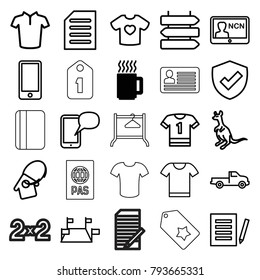 Blank icons. set of 25 editable outline blank icons such as mug, car, direction   isolated, cangaroo, t-shirt, document, t-shirt, t-shirt with heart, locations, shield, phone
