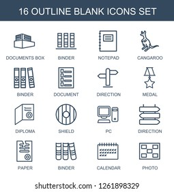 blank icons. Trendy 16 blank icons. Contain icons such as documents box, binder, notepad, cangaroo, document, direction, medal, diploma, shield. blank icon for web and mobile.