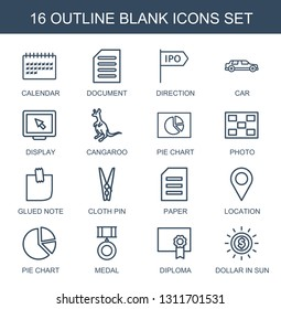 blank icons. Trendy 16 blank icons. Contain icons such as calendar, document, direction, car, display, cangaroo, pie chart, photo, glued note, cloth pin. blank icon for web and mobile.