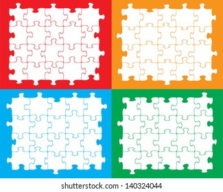 Blank individual jigsaw pieces that can be moved, colored or filled to suit your own artwork.