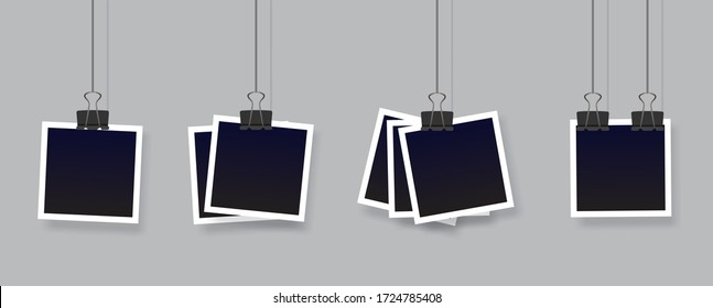 Blank instant photo frame set hanging on a clip. Black empty vintage photo frames templates. Vector illustration isolated on transparent background.