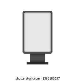 Blank interactive outdoor kiosk. Display kiosk stand, blank mockup advertising touch. Vector stock illustration.