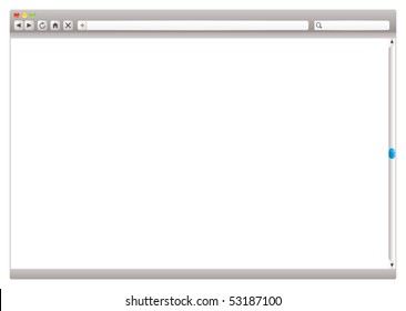 Blank internet browser with navigation arrows and slider