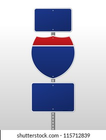 Blank Interstate Sign - Red and blue road sign on silver pole