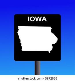 Blank Iowa highway sign on blue illustration