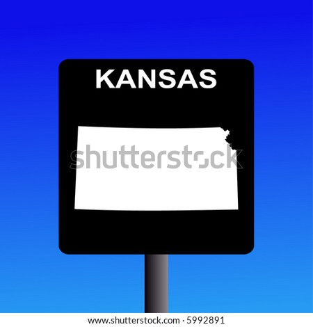 blank kansas highway sign on blue stock vector royalty free