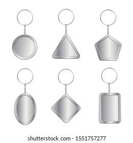 Blank keychains, empty trinkets vector illustrations set. House fobs collection isolated on white background. Steel keyholders design elements bundle. Property pendants mockups pack