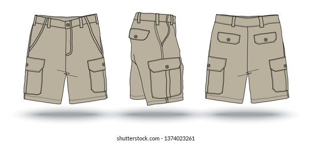 Blank Khaki military cargo shorts template