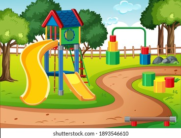 Blank kids playground with slides in the scene illustration