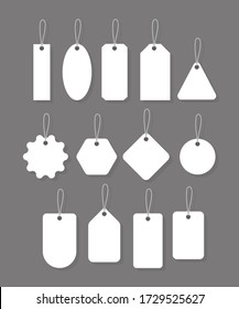 Blank labels template. Empty badges collection isolated on grey background . Vector illustration . Stock Photo.