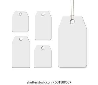Blank labels template price tags set realistic vector isolated on white. Set of paper sale labels