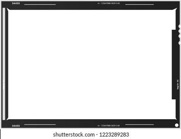 Blank large format,empty film negative or picture frame,free copy space, isolated on white