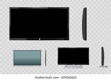 A blank LCD screen, plasma displays or TV to your design.computer monitor or black photo frame isolated on a transparent background.