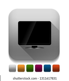 blank lcd tv template icon With long shadow over app button