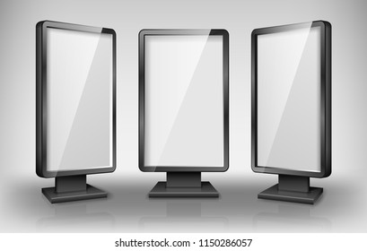 Blank lightbox template. Street 3d Retail lighting billboards. Realistic lightbox screen for advertising and design. vector illustration