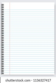Blank lined paper template, one page, Notebook & Exercise book, vector illustration.