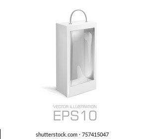 Blank long Cardboard box with hole, transparent plastic window isolated on white background. Product package template. Vector illustration
