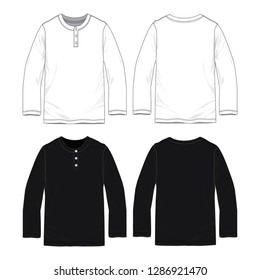 Blank long sleeve T-shirts with button neck