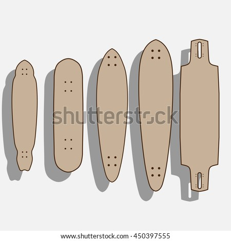 blank longboard template different forms longboards stock vector