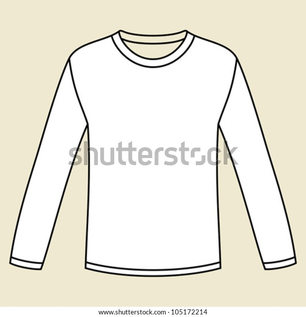 5f10cfe3557 Blank Longsleeved Tshirt Template Stock Vector (Royalty Free) 105172214