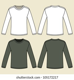 Blank Long Sleeved T Shirts Template