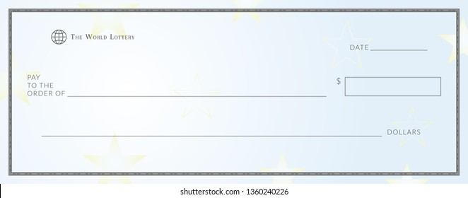 Blank lottery ticket template. Empy lotto check