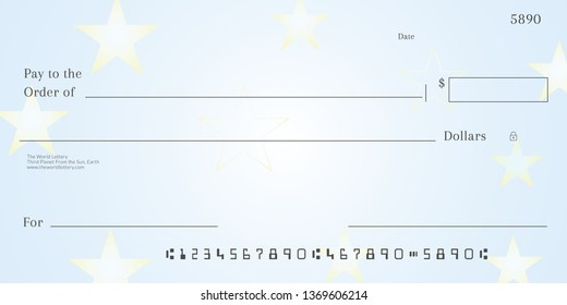 Blank lotto ticket template. Empy lottery check.