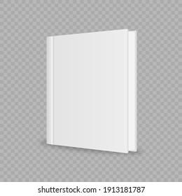 Blank magazine or book cover, brochure booklet. Cover brochure mockup, white soft surface, catalog or tutorial. Blank vertical book cover template with pages in front. Vector illustration.