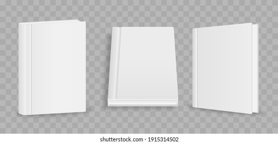 Blank magazine cover, book, booklet, brochure. Blank vertical book cover template with pages in front. Cover brochure mockup, white soft surface, catalog magazine tutorial. Vector illustration.
