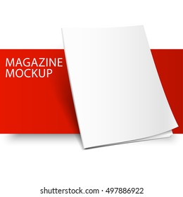 Blank magazine mockup template. Closed magazine mockup. Red Line series mockup. Realistic mockup vector EPS10 illustration.