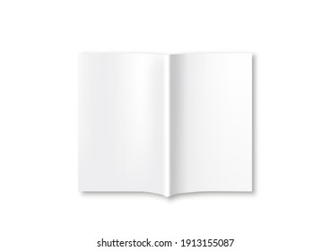 Blank magazine mockup template on gold background. Realistic vector illustration.