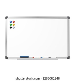 Blank magnetic dry erase whiteboard with the eraser, 3 markers and 6 magnets isolated on white background. Silver aluminum frame. Vector clear board.