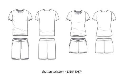 Blank male and female round neck t-shirt and swimming shorts in front, back views. Clothing templates. Fashion set. Casual, sport style. Active wear. Vector illustration. Isolated on white.