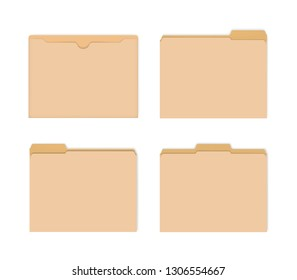 Blank manila file jackets with various cut tabs, vector mockup. Flat document envelope for letter size paper, mock-up set.