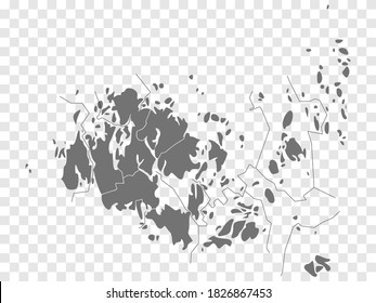 Blank map of Aland Islands. High quality map Aland Islandswith provinces on transparent background for your web site design, logo, app, UI.  Europe. Finland. EPS10.