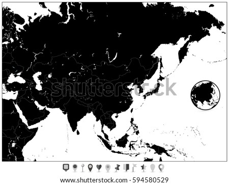 A Blank Map Of Asia.Blank Map Asia Flat Map Pointers Stock Vector Royalty Free