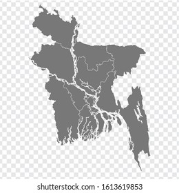 Blank map of Bangladesh. High quality map People's Republic of Bangladesh with provinces on transparent background for your web site design, logo, app, UI. Asia. EPS10.