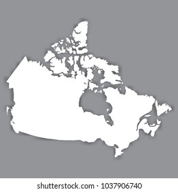 Blank Map of Canada. Blank White similar Canada map isolated on gray background. North american country with shadow. Flat design. Vector illustration EPS10.