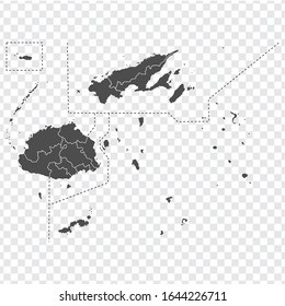 Blank map of Fiji. High quality map Republic of Fiji  with provinces on transparent background for your web site design, app, UI. Oceania. EPS10.