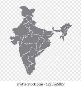 Blank map India. High quality map India with provinces on transparent background for your web site design, logo, app, UI. Stock vector. Vector illustration EPS10.