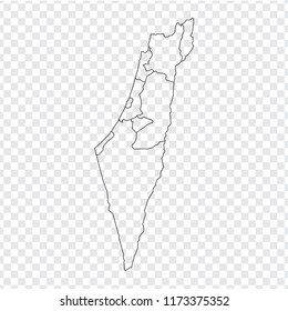 Blank map  Israel. High quality map of  Israel with provinces on transparent background for your web site design, logo, app, UI. Stock vector. Vector illustration EPS10.