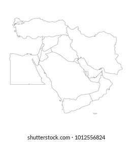 Blank map of Middle East, or Near East. Simple flat outline vector ilustration.