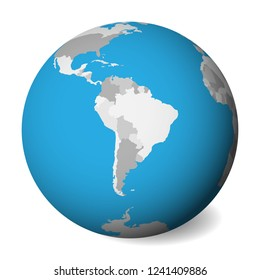 Blank  map of South America. 3D Earth globe with blue water and grey lands. Vector illustration.